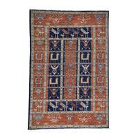 "Antiqued Caucasian Akstafa Design Handmade Vegetable Dyes Rug(6'1""x9') - 6'1""x9'"