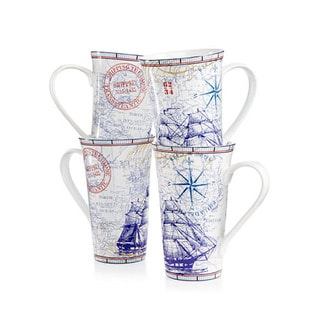 222 Fifth 'Clipper Blue' Blue Porcelain Latte Mugs (4-piece Set)