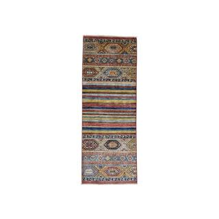 Hand-Knotted Super Kazak Khorjin Design Runner Rug (2'7x6'10)