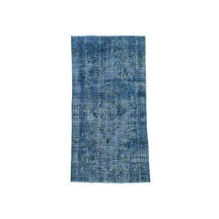 "Hand-Knotted Overdyed Tabriz Fine Wool Wide Runner Rug (4'x7'7"")"