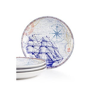 222 Fifth Clipper Blue Porcelain Salad Plates (Pack of 4)