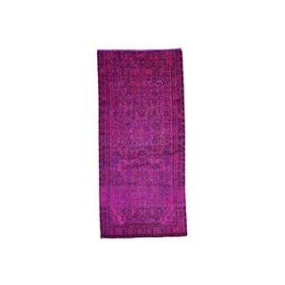 Hand-Knotted Persian Hamadan Pink Overdyed Wide Runner Rug (4'5x9'5)