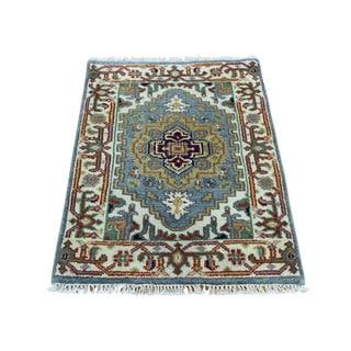 "Hand-Knotted Fine Wool Tribal Design Serapi Heriz Rug (2'x3'1"")"