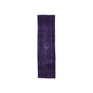 "Hand-Knotted Overdyed Hamadan Purple Oriental Runner Rug (3'x10'4"")"