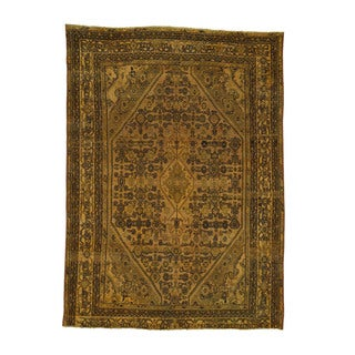 Handmade Orange Persian Bibikabad Overdyed Fine Wool Rug (6'7x9'2)