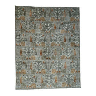 """Antiqued Willow And Cypress Tree Design Hand-Knotted Rug (12'x15'2"""")"""