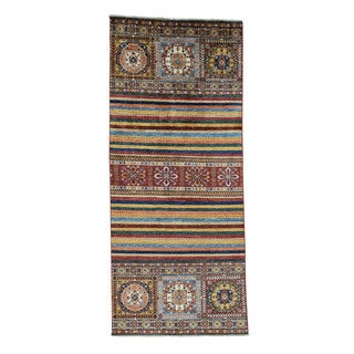 Hand-Knotted Super Kazak Khorjin Design Wide Runner Rug (4'2x9'6)