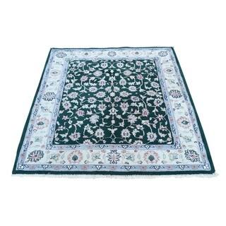 "Handmade Fine Wool Indo Kashan Square Rug (4'x4'2"") (As Is Item)"