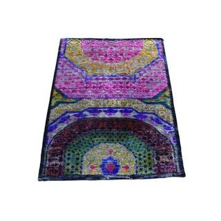 Pure Sari-Silk With Oxidized Wool Mamluk Design Rug (2'2x3'4)