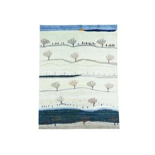 Hand-Knotted Modern Folk Art Gabbeh Persian Wool Rug - 9'x12'