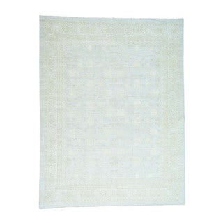 """Hand-Knotted Samarkhand Design Washed Out Peshawar Rug (9'x11'6"""")"""