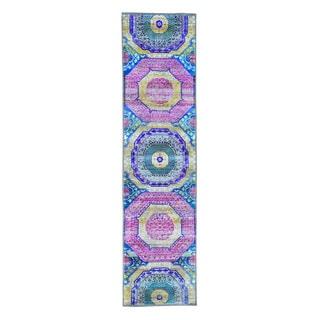 "Handmade Mamluk Design Sari-Silk With Oxidized Wool Rug (3'x11'8"")"