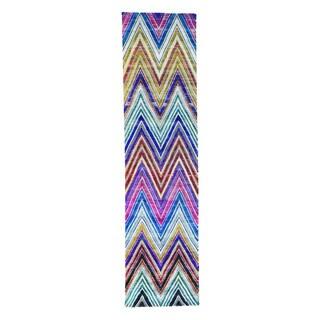 Handmade Chevron Design Sari-Silk With Oxidized Runner Rug (3'x12')