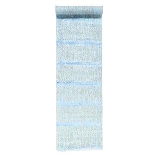 Sari-Silk With Oxidized Wool Wide Runner Rug (3'6x18'5)