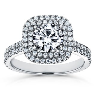 Annello by Kobelli 14k White Gold 1ct Forever One Moissanite and 3/4ct TDW Diamond Double Halo Engagement Ring