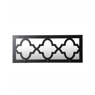Privilege Black Wood 3 Hook Wall Mirror