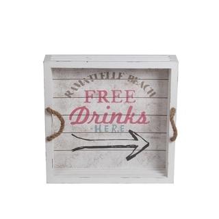 Privilege Medium White Wood Drink Tray