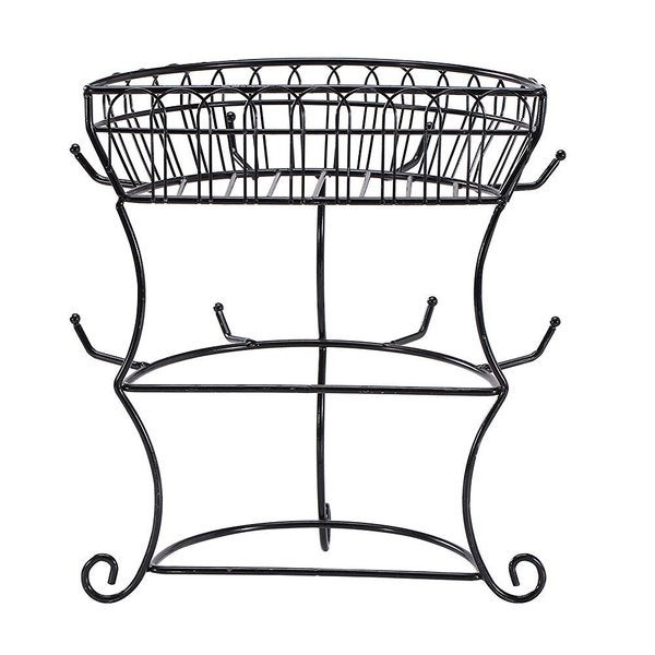shop ikee design black metal wire cupholder tree with 8 hooks and wire basket free shipping on. Black Bedroom Furniture Sets. Home Design Ideas