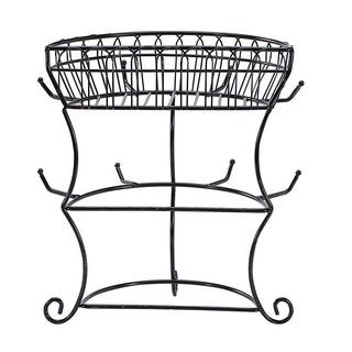 Ikee Design Black Metal Wire Cupholder Tree With 8 Hooks and Wire Basket