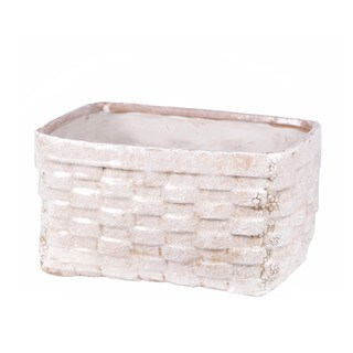 Privilege White Ceramic Wide Weave Basket