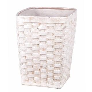 Privilege Large White Ceramic Weave Basket