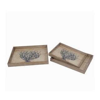 Privilege Grey Wood Trays (Pack of 3)
