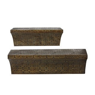 Privilege Gold-tone Stamped Metal Wall Shelves (Set of 2)