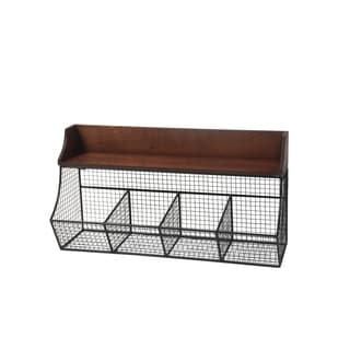 Privilege Brown Metal 4 Bin Wall Storage