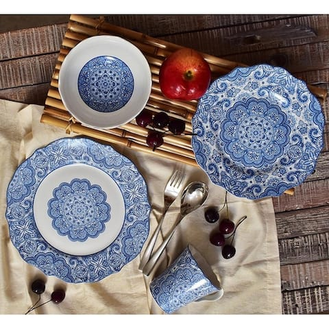 222 Fifth Lyria Blue Porcelain 16 Piece Dinnerware Set, Service for 4