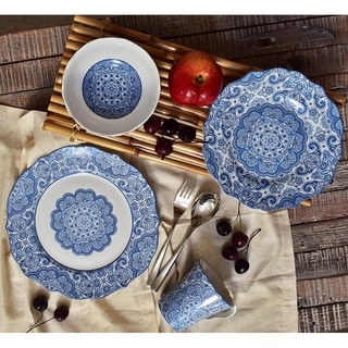 222 Fifth Lyria Blue Porcelain 16 Piece Dinnerware Set, Service for 4