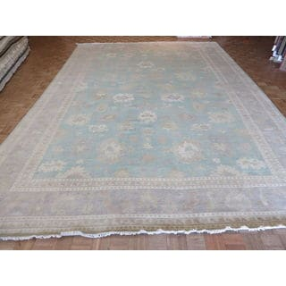 Oushak Sky Blue/White Wash Wool Hand-knotted Oriental Rug (12'5 x 17'9)