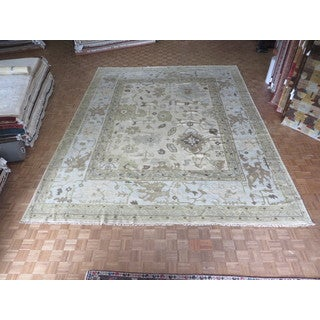 Oushak Oriental Ivory Wool Hand-knotted Area Rug (13'10 x 17'3)