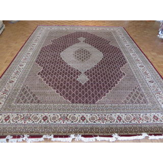Mahi Tabriz Oriental Red Wool and Silk Hand-knotted Area Rug - 11'9 x 14'11
