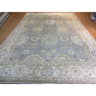 Oushak Oriental Light Blue Wool Hand-knotted Area Rug (12'3 x 17'9)