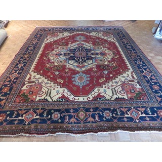 Oriental Red Wool Hand-knotted Serapi Heriz Rug (11'11 x 14'10)
