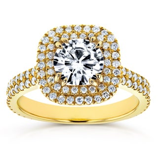 Annello by Kobelli 14k Yellow Gold 1ct Forever One Moissanite and 3/4ct TDW Diamond Double Halo Engagement Ring