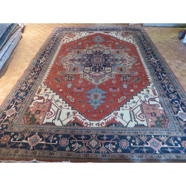 Hand Knotted Heriz Wool Fine Persian Oriental Area Rug: Shop Serapi Heriz Oriental Rust Red Wool Hand-knotted Area