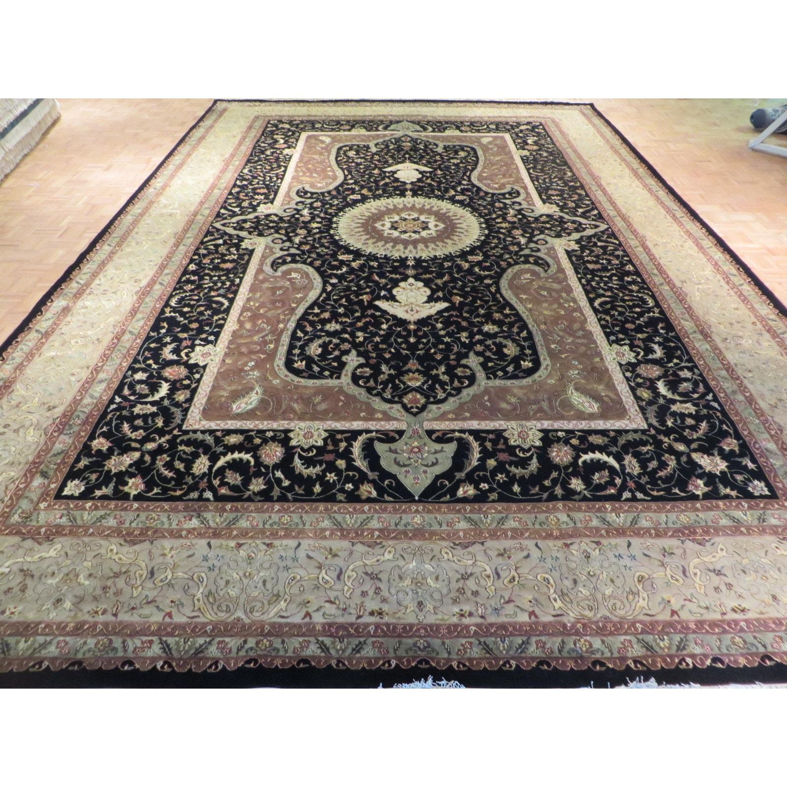 Black Hand Knotted Wool Silk Tabriz Oriental Rug 12 1 X 18