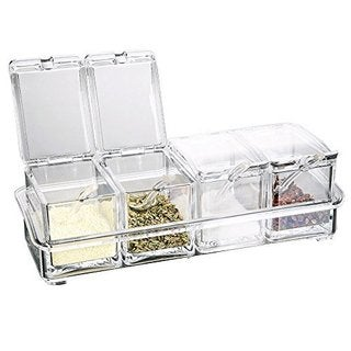 Ikee Design Food-grade Acrylic Condiment Spice Jars Set with Serving Spoons in Organizer Tray