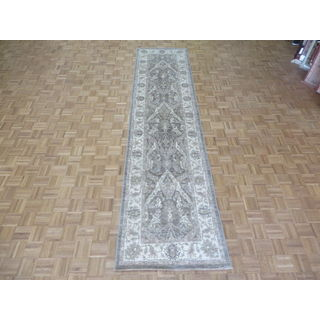 Oriental Brown Wool Hand-knotted Peshawar Rug (3'3 x 13'6)