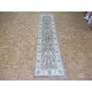 Oriental Brown Wool Hand-knotted Peshawar Rug (3'3 x 13'6)