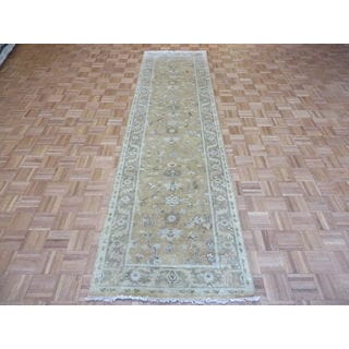 Salmon Wool Hand-knotted Oushak Oriental Rug (3'2 x 11'9)