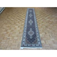 Light Blue Wool and Silk Hand-knotted Mahi Tabriz Oriental Rug - 2'6 x 13'8