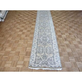 Oushak Oriental Grey Wool Hand-knotted Runner Rug (2'9 x 22'1)