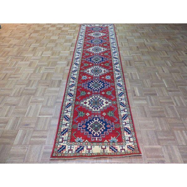 Kazak Red Wool Hand-knotted Oriental Rug - 2'7 x 9'10