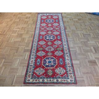 Kazak Oriental Ivory/Blue/Red/Green Wool Hand-knotted Runner Rug (2'8 x 7'6)