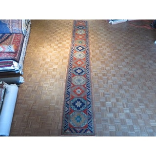 Hand-knotted Orangy Red Super Kazak with Wool Oriental Rug (2'7 x 18'8)