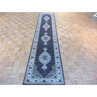 Black Wool and Silk Hand-knotted Mahi Tabriz Oriental Rug - 2'7 x 12