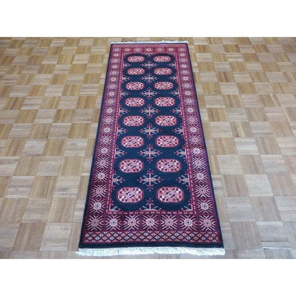 Bokara Oriental Black Wool Hand-knotted Rug (2'7 x 6'6)