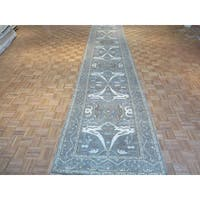 Oushak Oriental Grey Wool Hand-knotted Runner Rug - 4'1 x 19'6
